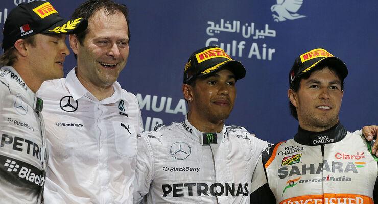 Podium Bahrain 2014 Aldo Costa, Rosberg, Hamilton