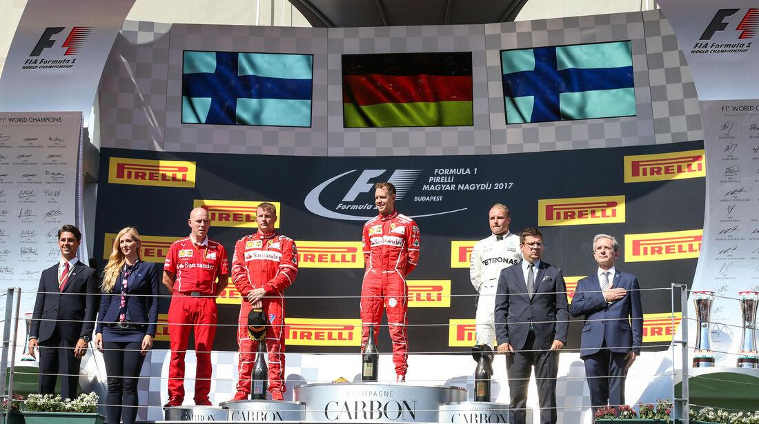 Podium - Vettel - Räikkönen - Bottas - GP Ungarn 2017 - Budapest - Rennen