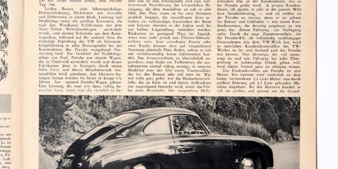 Porsche 356, Seitenansicht, Zeitungsausschnitt