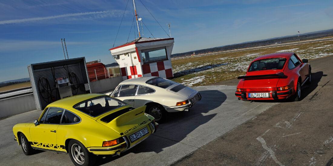 Porsche 911 T 2.0, Porsche Carrera RS 2.7, Porsche Carrera 3.2, Seitenansicht