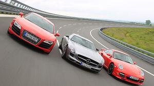 Porsche 911 Turbo, Mercedes SLS, Audi R8
