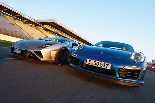 Porsche 911 Turbo S, Lamborghini Gallardo LP 570-4 Squadra Corse, Frontansicht