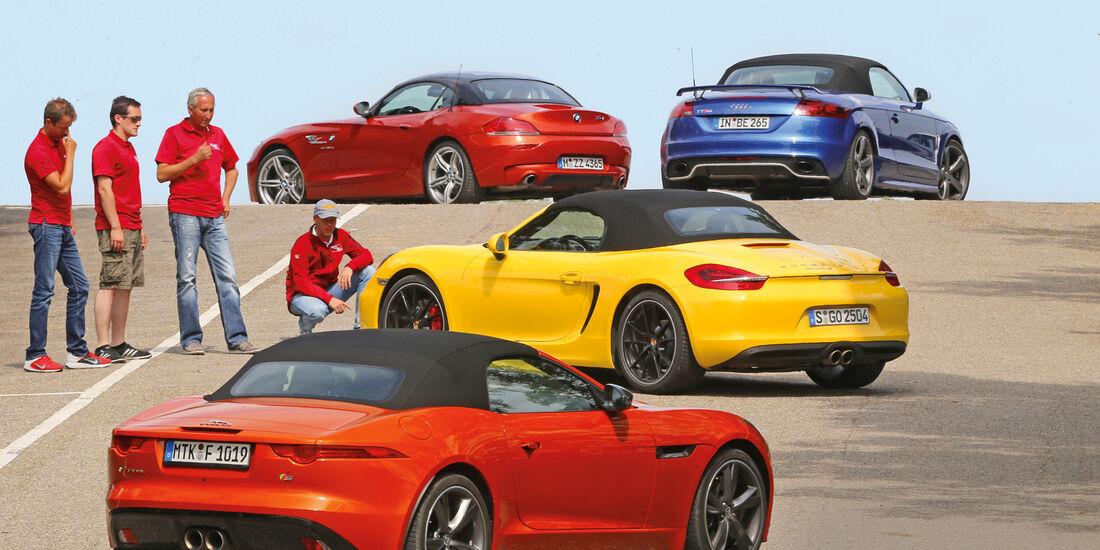 Porsche Boxster, Jaguar F-Type, Audi TT RS, BMW Z4, Seitenansicht