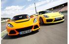 Porsche Cayman GT4, Lotus Exige S, Frontansicht