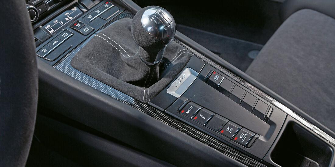 Porsche Cayman GT4, Mittelkonsole, Schalthebel