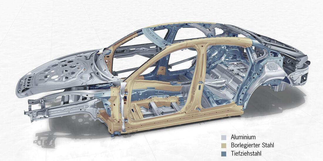 Porsche Panamera Turbo: Hybrid-Leichtbaukarosserie in Stahl-Aluminium-Mischbauweise