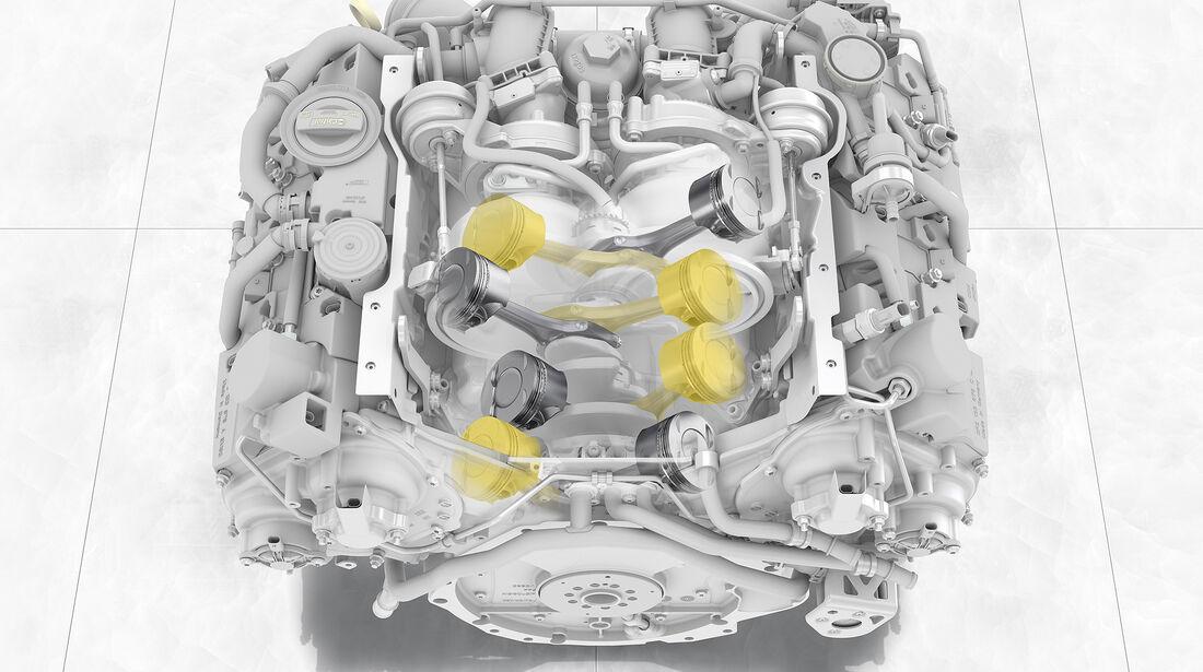 Porsche Panamera Turbo: adaptive Zylindersteuerung (Zylinder-Abschaltung)