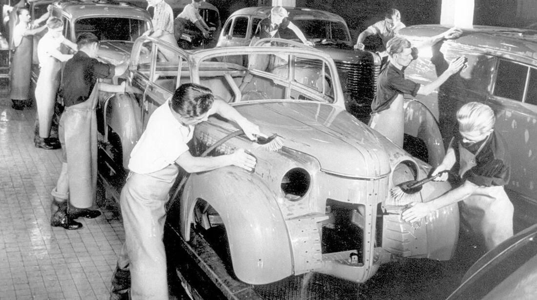 Produktionsanlagen im Rüsselsheimer Opel-Werk, 1950