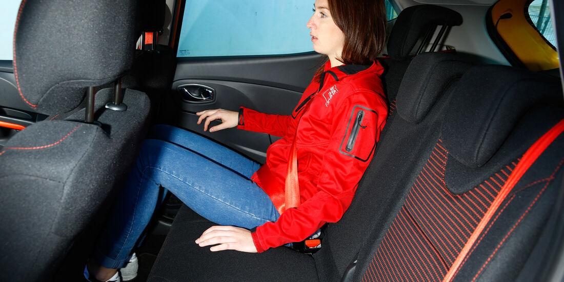 Renault Clio RS, Rücksitz, Beinfreiheit