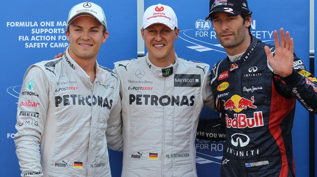Rosberg, Schumacher & Webber - Formel 1 - GP Monaco - 26. Mai 2012