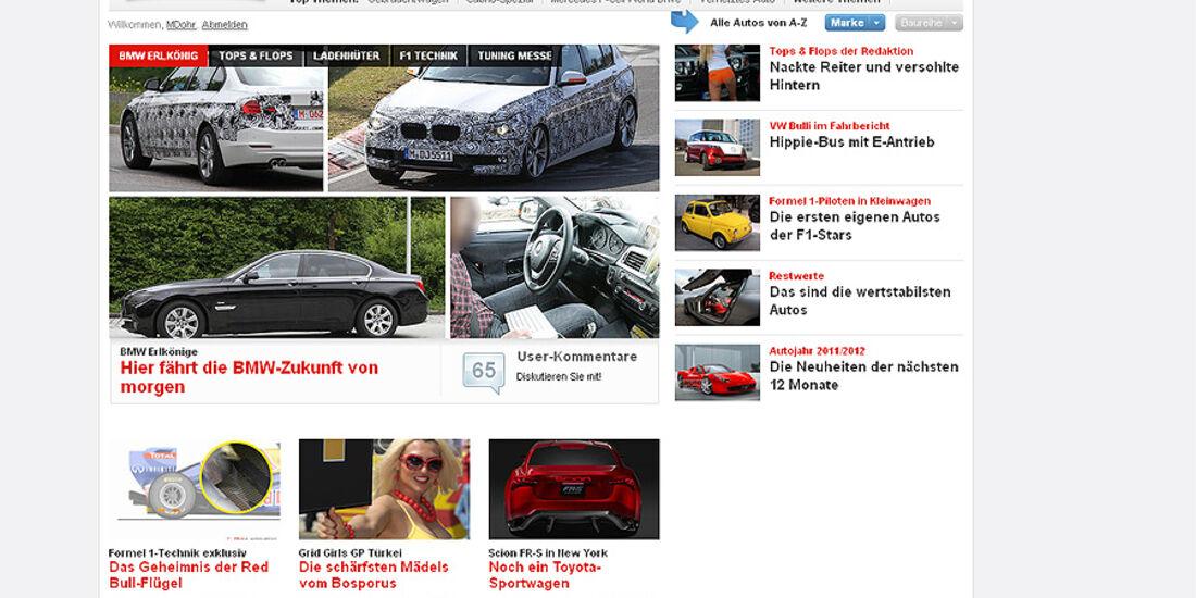 Screenshot auto-motor-und-sport.de, Relaunch, 2011