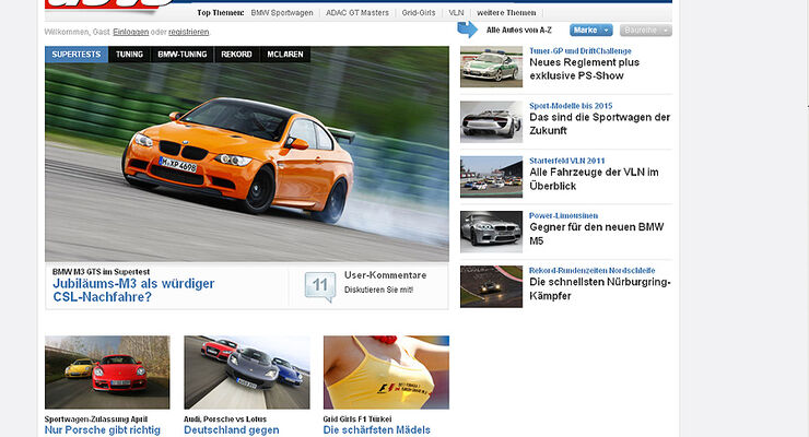 Screenshot sportauto-online.de, Relaunch, 2011