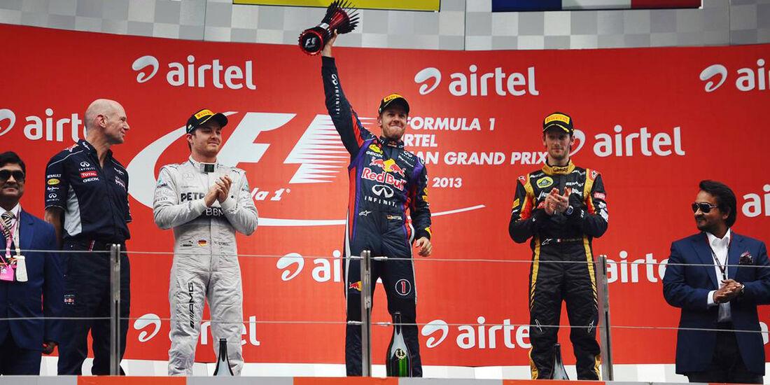 Sebastian Vettel - Romain Grosjean - Nico Rosberg - Formel 1 - GP Indien - 27. Oktober 2013
