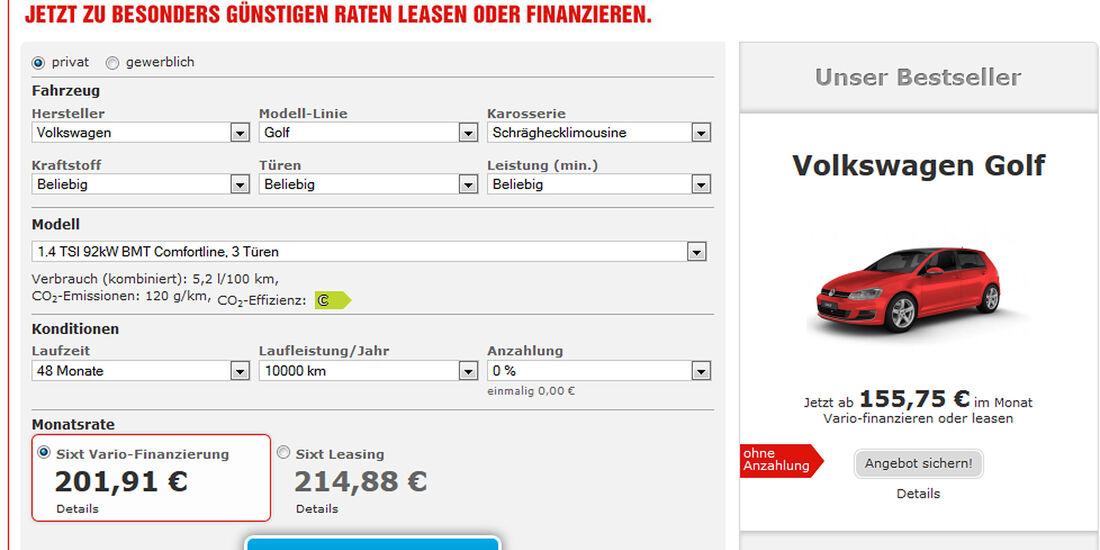 Neuwagen Rabatte Und Finanzierung Bei Sixt Auto Motor Und Sport