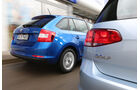Skoda Rapid Spaceback 1.6 TDI Greentec, VW Golf 1.6 TDI BlueMotion, Heck