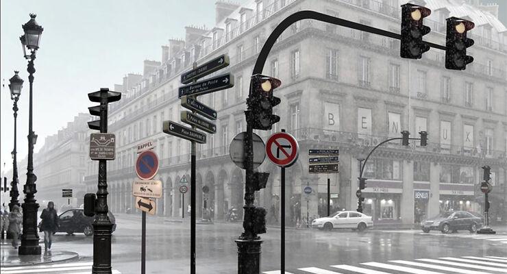 Stadt, Kreuzung, Verkehrsschilder, Architektur