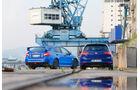 Subaru WRX STI, VW Golf, Heckansicht, Hafen