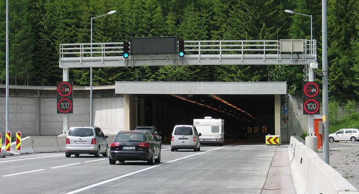 Tauerntunnel in Österreich.