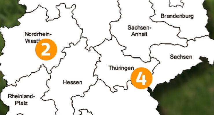 Traumrouten, Deutschlandkarte