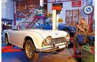 Triumph TR4, Hebebühne, Frontansicht
