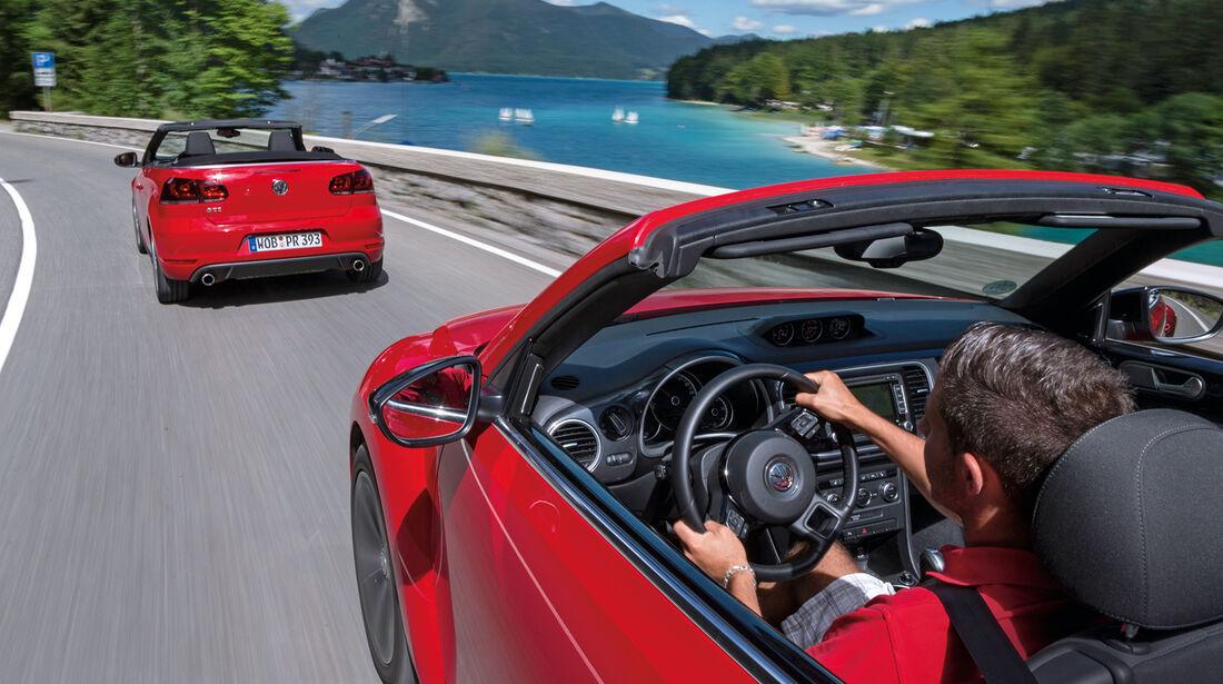 VW Beetle Cabrio, VW Golf Cabrio, Ausfahrt