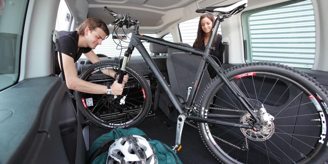 VW Caddy, Kofferraum, Fahrrad