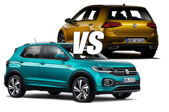 VW Golf und T-Cross Vergleich Teaser Aufmacher Bild Collage