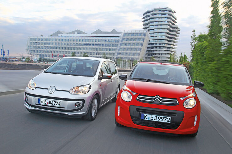 VW Up 1.0 Bluemotion, Citroën C1 Airscape VTi 82, Frontansicht