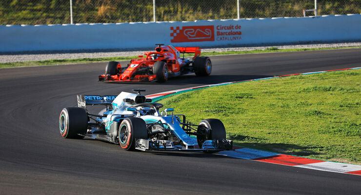 Valtteri Bottas - Mercedes - Kimi Räikkönen - Ferrari - F1 - Testfahrten - Barcelona 2018
