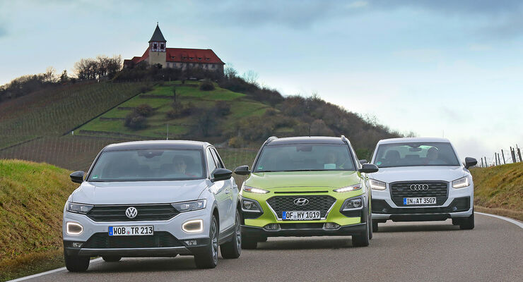 Vergleichstest Audi Q2, Hyundai Kona, VW T-Roc