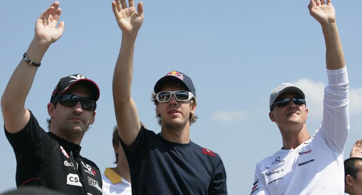 Vettel, Glock und Schumacher