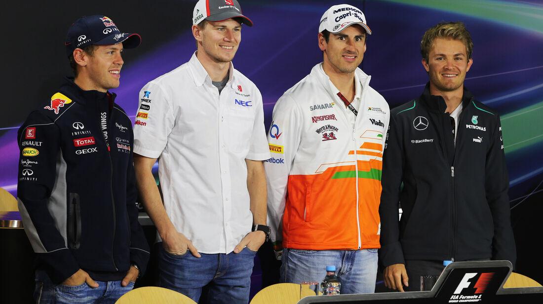 Vettel, Hülkenberg, Sutil, Rosberg - Formel 1 - GP Deutschland - 4. Juli 2013