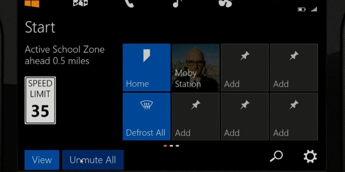 Wie Windows 8 verfügt auch Microsofts Auto-OS über Kacheln.