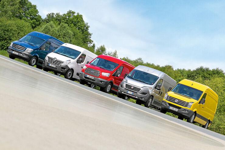 promobil Megatest 2014, Basisfahrzeuge, Fiat Ducato, Ford Transit, Mercedes Sprinter, Renault Master, VW Crafter