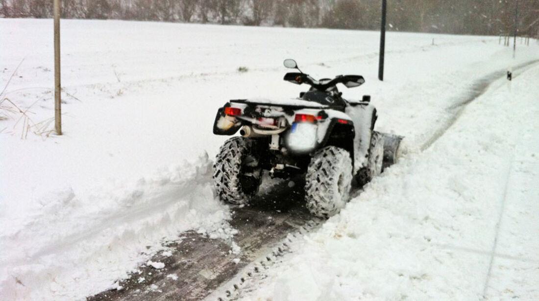 quad atv schneepflug winter